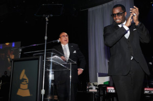 Clive Davis and Puff Daddy at the pre-Grammys party, February 11, 2012